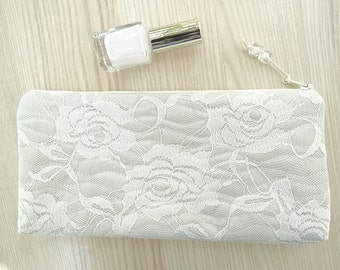Bride Clutch Silver, Bride Wedding Purse Roses, Bride to be Gift, Bridal Shower Statement Lace Bag Silver