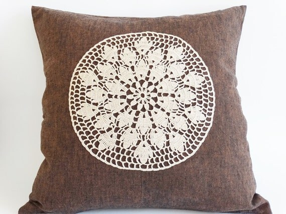 Decorative Pillow Cover 17X17, Brown Crochet Pillow Case, Eco-friendly pillow Cover, Christmas Home Decoration