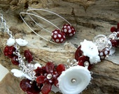 Custom order,Handmade lampwork and sterling silver necklace and earrings set