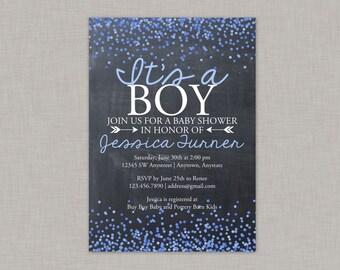 Confetti Baby Shower Invitation, Chalkboard Baby Shower Invitation, Boy