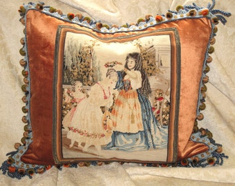 19th c French Wool Silk Needlepoint Tapestry Pillow Pictorial Victorian Woolwork