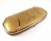 Vintage Eyeglass Case in Gold Tone with Floral Design, Hard Case with Blue Velvet Interior - Ètui à Lunettes.
