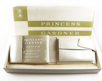 Vintage Ladies Wallet, Ivory Pearlescent Leather, Princess Gardner, 50s, New in Box, Bridal - Porte-Monnaie.