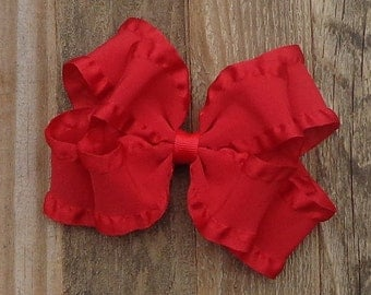 Boutique Hair Bow~Red Double Ruffle Hairbow~Basic Red Hair Bow~Red Boutique Hair Bow~Christmas Hair Bow~Uniform Hair Bows~School Hair Bows