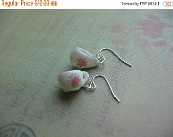 Clearance Little Porcelain Tea Cup Silver Earrings - Tea Cup Earrings - Tea Cup Jewelry - Tea Party Jewerly - On Sale Today