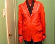 Vintage Men Leather Sport Coat / London Fog Size 44R Light Brown Sport Jacket