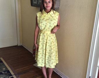 70s Adorable Day Dress / Sleeveless Atomic Yellow Dress / Paul Of California