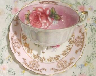 Royal Halsey Lusterware Fine China Teacup Pink Rose Center / Derby Pink Rose Saucer