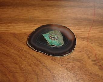 vintage pin brooch agate turquoise gemstone