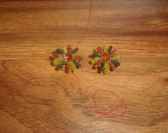 vintage clip on earrings colorful lucite bead clusters