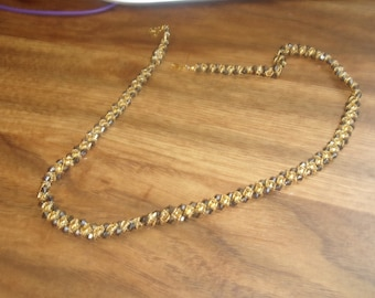 vintage necklace braided goldtone glass