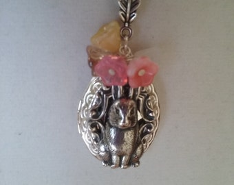 Bunny Locket Necklace - Cute Silver Rabbit Locket with Spring Flowers - Easter Locket