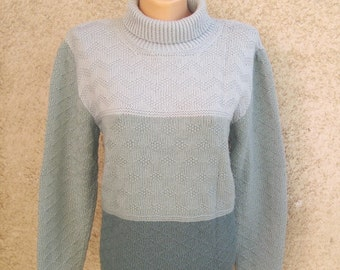 Vintage Hand Knitted Sweater, Block color Gray Turtleneck Blouse, Long Sleeve Acrylic Women Pullover, Teen Retro Vest, M L 10 12 US 12 14 UK