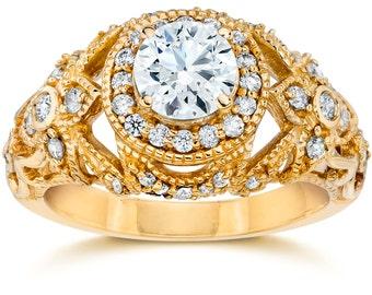 Emery .75Ct Vintage Diamond Antique Engagement 14K Yellow Gold