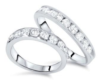 Diamond Wedding Rings, His Hers Diamond Bands 2.00CT Diamond 14K White Gold His/Hers Wedding Ring Set