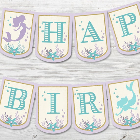 Mermaid Birthday Decorations Signs Printable