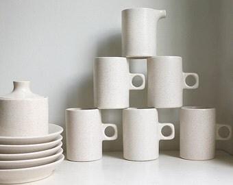 Minimalist 1970s Govancroft Lunar Range Stoneware. Five Tea Cups with Saucers, Sugar Bowl and Creamer. Minimalist Oatmeal Tea/ coffee set