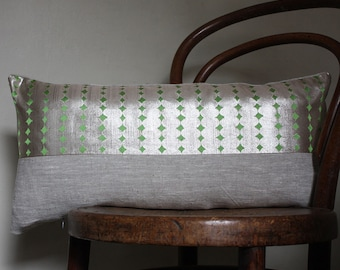 Metallic/ lime. Decorative Pillow by Project Sarafan. Recycled Kimono Obi Belt and Natural Linen. 30x60cm (12x24'').