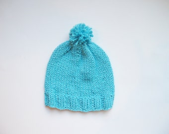 Cotton silk pom pom baby hat turquoise blue hand knitted