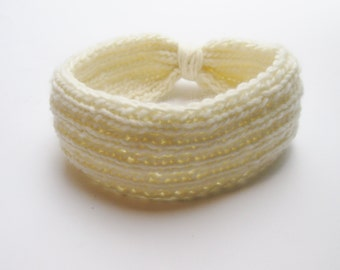 Headband ear wrap wool  ivory hand knitted