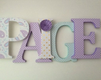 Alphabet wooden letters for nurser in lavender,aqua,white and gold spelling out your child's name letters stand up initial monogram
