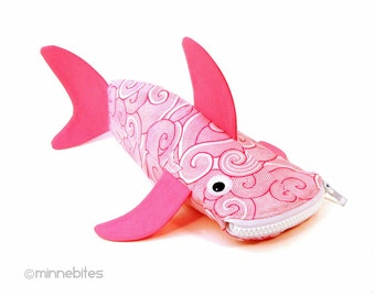 Pink Shark Case by MinneBites / Shark Week Pencil Case - Pink Fish Purse - Office Organizer - Art Storage - Girls School Bag - Ready to Ship