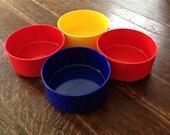 HELLER 4 Bowl Set Primary Colors Melamine Vintage Bowls Massimo Vignelli