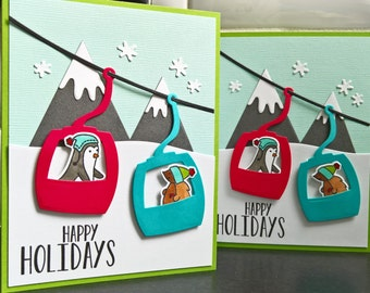 Happy Holiday Cards Set of 2, Ski Cards, Mountain Cards, Hiker Cards, Woodland Friends Christmas Cards Set, Snowboarder Cards