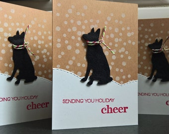 German Shepherd Christmas Cards Set of 4, Dog Holiday Cards Set, Dog Christmas Cards Set, German Shepherd Gift