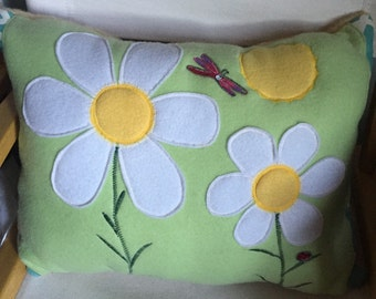 Appliquéd Sunflower Pillow - Plush Fleece - Dragonfly - Kids Pillow - Sunporch Pillow