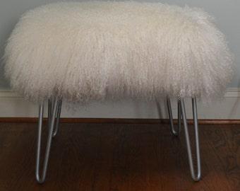 Real Natural Mongolian Lamb Fur Bench Tibet  Stool Silver Hairpin legs Made in USA New Sheepskin  Ottoman