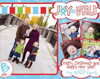 Photo Christmas Card - Multiple Designs - Digital File - You Print - Customizable - 5 photos
