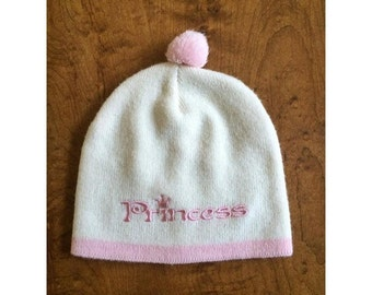 White and Pink Kawaii Princess Beanie