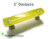 """Vintage Yellow Lucite Drawer Pulls with Chrome Accents - 3"""" Centers - More Available"""