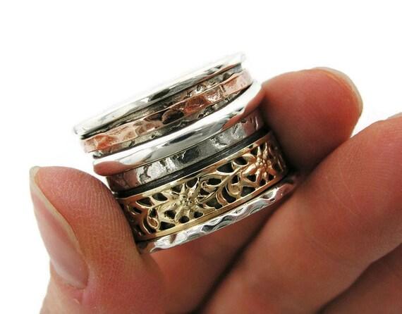 Sterling silver gold spinner ring. Silver spinner ring. Wide spinner ring. Mix ring. Floral spinner ring. (gsr-7052-955-961-958-973-957)