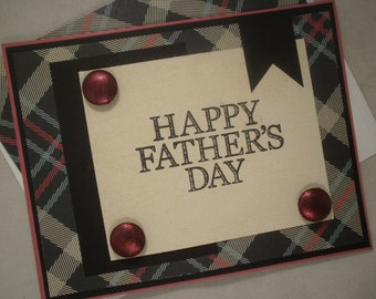 Handmade Father's Day Card, Dad, Card for Men, Masculine, Father, Father's Day, Plaid, Husband