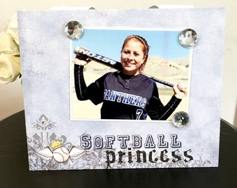 "Softball Princess Sports coach team player college champion custom gift handmade magnetic picture frame holds 5"" x 7"" photo 9""x 11"" size"
