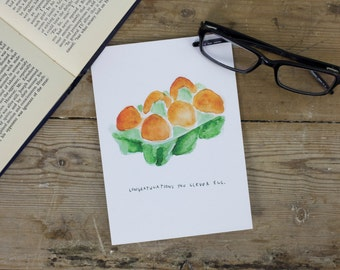Congratulations Egg Greetings Card - blank inside - beautifully illustrated gifts - eco stationery - greetings cards - made in the UK