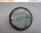 Summer Sale Vintage Glass and Rhinestone Brooch Rose Etched Glass Brooch