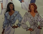 V-NECK PEASANT BLOUSE Pattern • Butterick 6803 • Miss 6-10 • Ruffled Top • Waist Tie Top • Flounced Top • Modern Patterns • WhiletheCatNaps