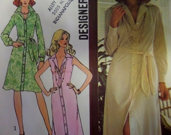 """1975 Sexy Maxi Belted Shirtdress Pattern Simplicity 6894 Miss 12 Bust 34"""". 70's Designer BUTTON-FRONT SHIRTDRESS Pattern at WhiletheCatNaps"""