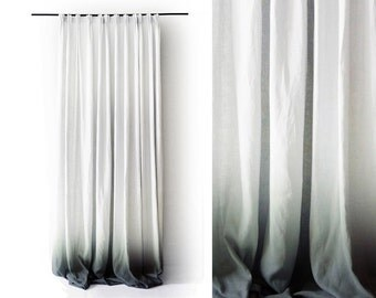 Ombre linen drapes Grey fade to white Pinch pleat window curtain Blackout lining option