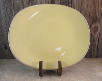 Vintage Serving Platter Stoneware Harkerware Ovenproof USA French Yellow Gray
