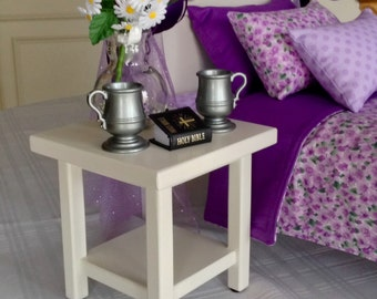 American Girl doll: Furniture, nightstand, square white end table for dolls