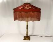 Lamp Shade Custom Cut Velvet Mauve Rose Silk Fancy Beaded Oval Hand Made Victorian