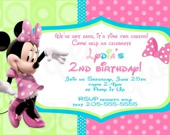 Minnie Mouse inspired birthday invitation l Disney l Polka Dot l 4x6 I Instant Download l Pink