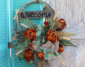 Orange Western Lasso Rope Wreath with Welcome Sign / cowboy rodeo wreath / Longhorn Rope Wreath  / lariat rope wreath o4 country / rustic