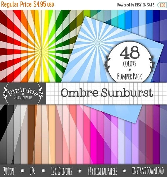 50% OFF SALE Digital Paper Pack, Ombre Sunburst Sunrays x 48, Instant Download, Commercial Use, Rainbow, Scrapbooking Paper