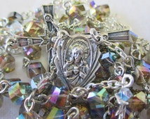 Handmade Catholic Rosary, 6mm Mystic Topaz AB Crystal Helix Beads, Sacred Heart & Sorrowful Mother Center, Lovely Petite Rosary