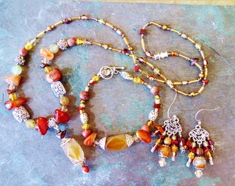 Red agate, antique silver necklace bracelet earring set